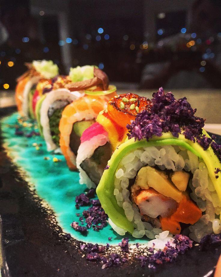Amazing rainbow #sushi . We eat eating  by tomysushi