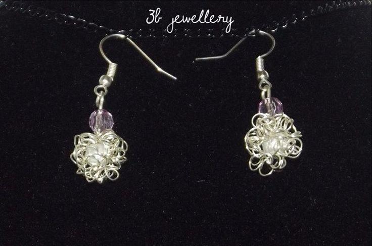 #white #fluffy #earrings #3bjewellery #wirewrapping #gettingBetter
