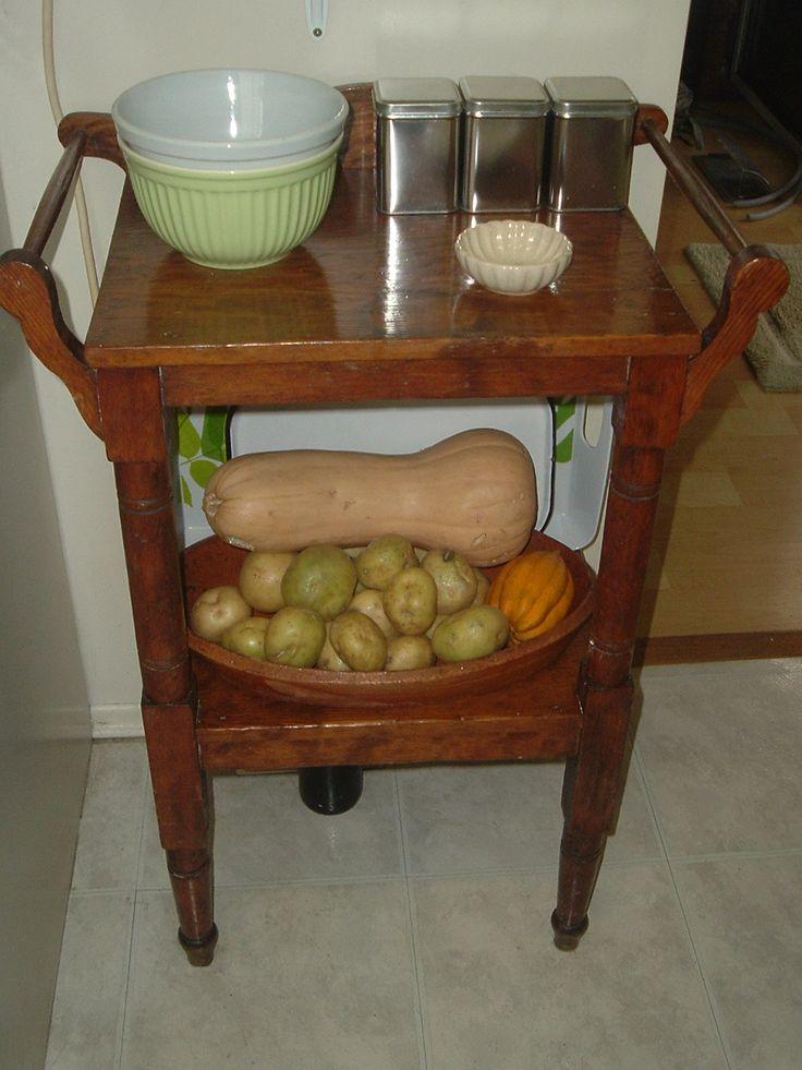 1800's pine wash stand as kitchen piece.