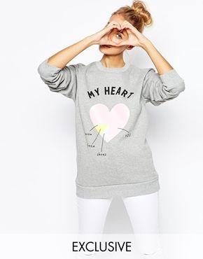 Adolescent Clothing Boyfriend Sweatshirt With Valentines Heart Print