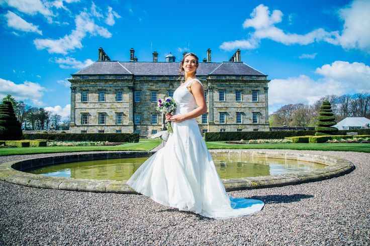 """Wedding dress """"Arianna"""" in satin, tulle and lace by Esther Catherine, ES Photography and Social media, styling Miss Helen Williams, HVR Beauty, hair by Abigail Tooth, taken at Kinross House, Scotland."""