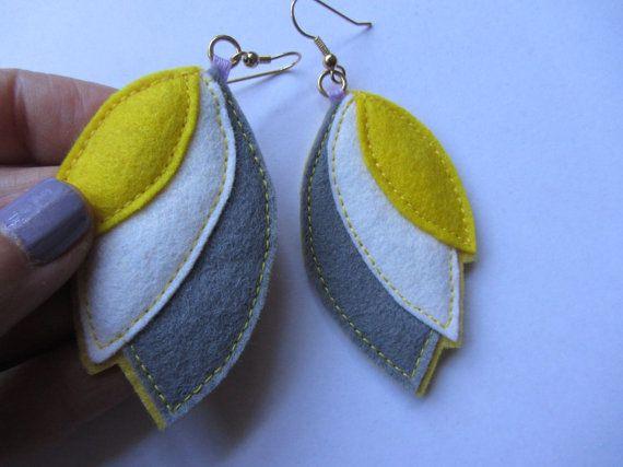Felt Color Block Blossom Earrings by dessertfirstdesigns on Etsy, $25.00