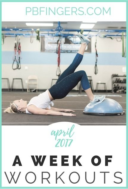 One Week Workout Plan http://www.pbfingers.com/week-of-workouts-april-2017/ A weekly workout plan including treadmill HIIT workouts, leg workouts, arm workouts, total body workouts and more! (Featuring home, gym and boot camp workout options!)