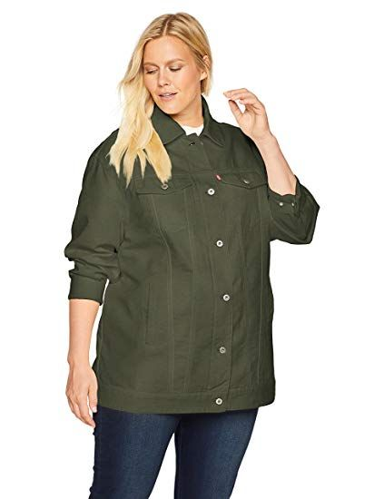 8482012dc36ac Levi s Women s Plus Size Oversized Long Cotton Trucker Jacket ...