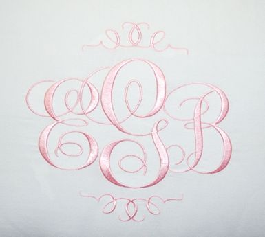 Elegant Monogram Font by Applique Corner....absolutely gorgeous! HAVE THIS and use it on my custom-made children's wear.  Perfect for christening gowns