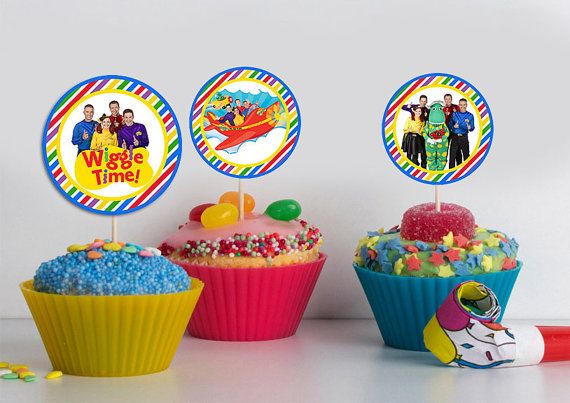 Wiggles Cupcake Toppers  Digital Download  by BusyBeeDesignzzz, $2.35