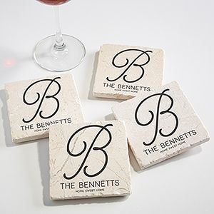 LOVE These Personalized Monogram Coasters! You can choose from 4 colors and add any monogram, name and any message at the bottom! Great wedding or housewarming gift!