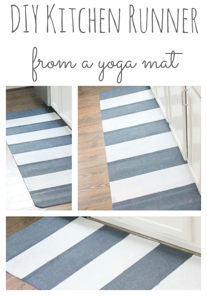 DIY Kitchen Runner {actually a painted yoga mat!} | Easy and quick way to update your kitchen! http://www.restlessarrow.com/2014/03/23/painted-yoga-mat-turned-runner/