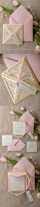 Blush Wedding Invitation Laser Cut Design