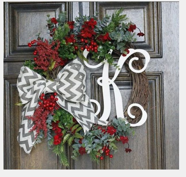 grapevine, holiday picks, initial and one awesome bow.