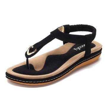 SOCOFY Comfortable Elastic Clip Toe Flat Beach Sandals