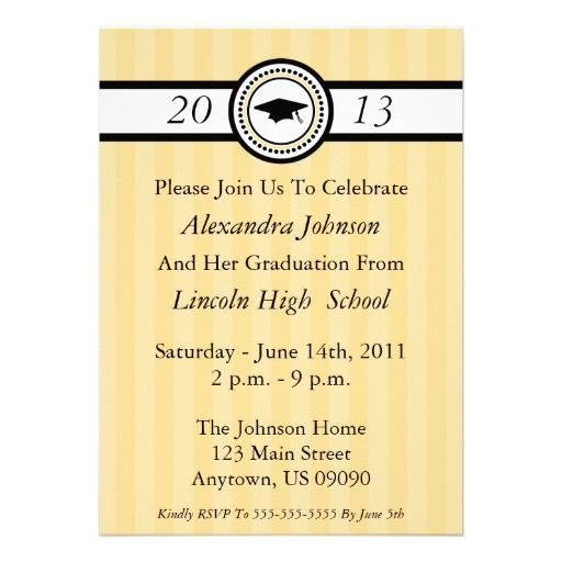 invitaciones de la graduaci u00f3n de las rayas  oro  anuncios personalizados