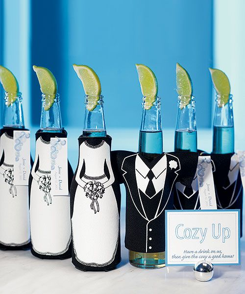 Wedding Party Bottle Cozy. These are cute, I need to get these for my reception bar. @Tess Stratton: Wedding Parties, Parties Bottle, Wedding Favors, Cute Ideas, Parties Favors, Beer Bottle, Bridal Parties, Bottle Cozy, Bottle Holders