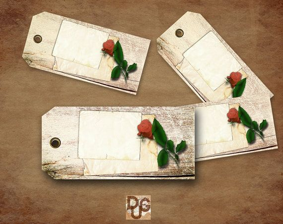 Digital Collage Sheet Gift Tags Printable. Instant printable download. Hang Tags The Letter VINTAGE SHABBY CHIC Design n 102