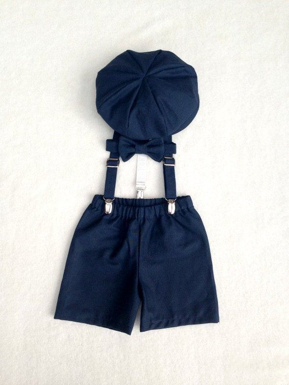 34fd38476 Baby Boy Outfit in Navy Natural Linen/Cotton Blend including a Newsboy Cap,  Bow Tie, Shorts, and Suspenders * This item is handmade to order and will  take ...
