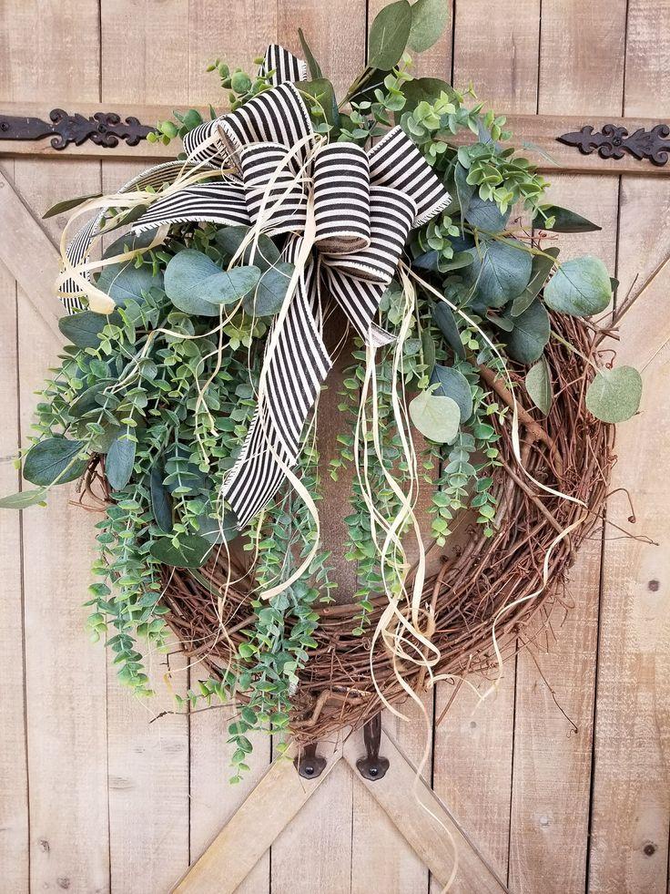 Front Door Wreath, farmhouse Eucalyptus wreath, Burlap Wreath, Greenery Wreath for All Year Round, Green Wreath, Eucalyptus door wreath by FarmHouseFloraLs on Etsy
