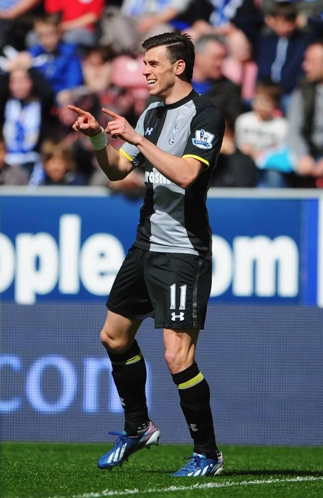~ Gareth Bale of Tottenham Hotspur celebrating his freak goal against Wigan Athletic ~