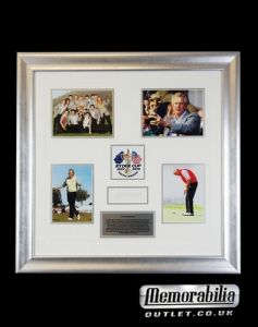 This authentic hand signed Colin Montgomerie photo montage piece Hand signed by the British golfer and Ryder Cup legend Montgomerie is heralded as one of the greatest Ryder Cup players of all time. To date he has been a member of the European team on eight occasions, and has never lost in a singles match