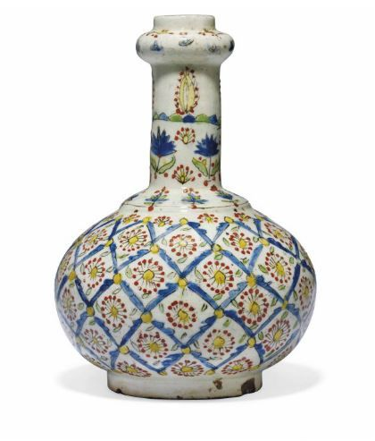 A KUTAHYA POTTERY BOTTLE OTTOMAN TURKEY, 18TH CENTURY
