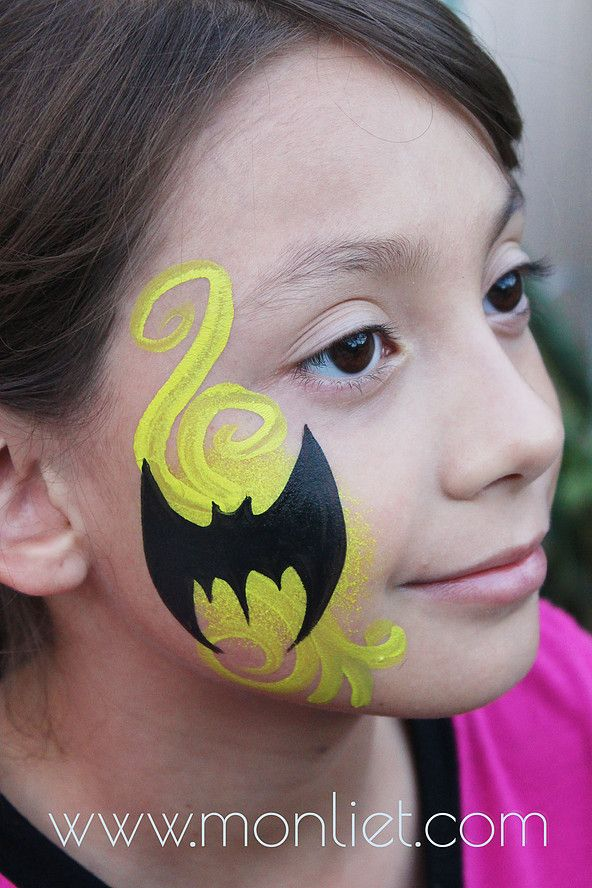 Batman Cheek | Monliet face paint | cheek art...use sponge and cut out batman shape for easy face art!