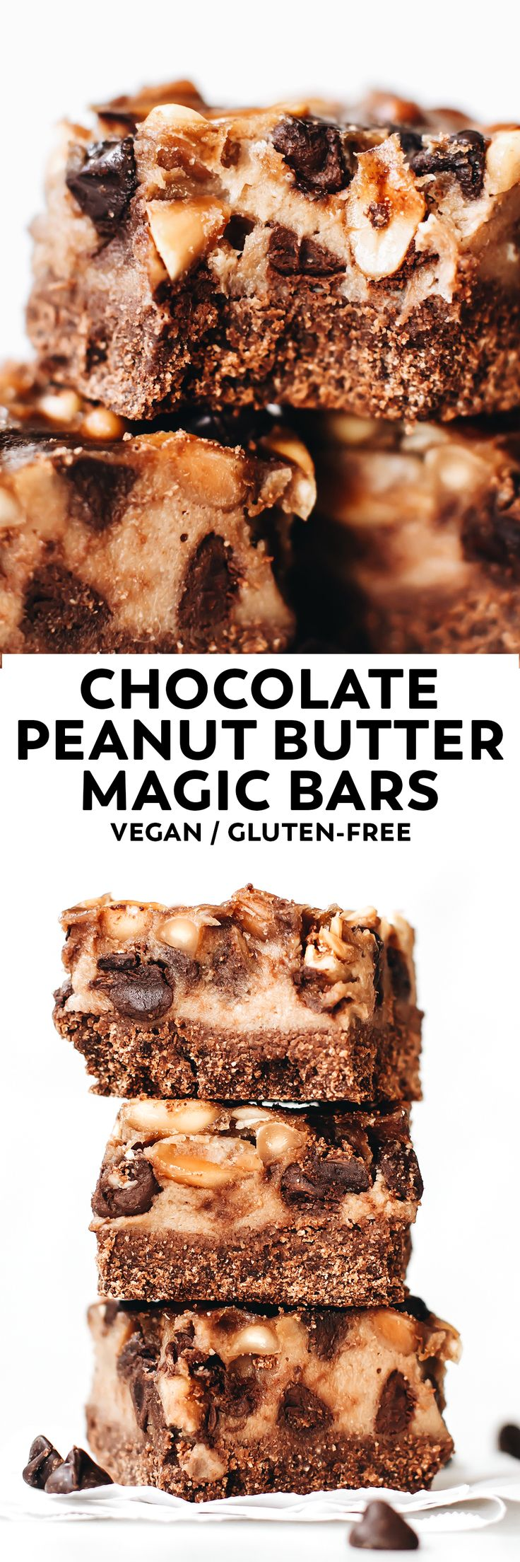 A truly MAGICAL gooey nutty chocolate treat – chocolate cookie crust, peanut butter on top, lots of chocolate chips, and NO sweetened condensed milk! #vegan #glutenfree #grainfree #chocolate #peanutbutter #baking #veganrecipe #dessert