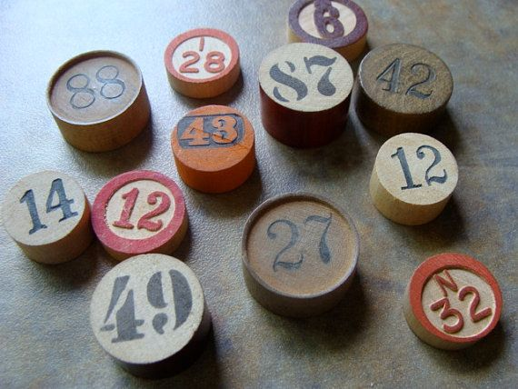 One Dozen Antique Vintage and New wooden Game markers.