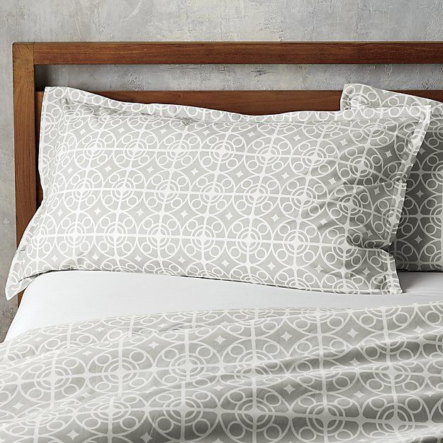 Shop Taza Grey Twin Duvet Cover.  White medallions trellis on soft grey in a Moroccan-inspired pattern printed on sturdy cotton.