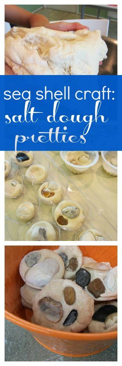 sea shell craft: simple, sea shell salt dough pretties . . . summertime crafts. . . beach crafts. . . #weteach
