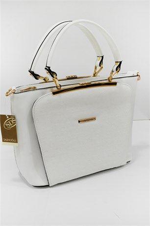 Taş Detaylı Çanta - Beyaz - SDS çanta modelleri, sırt çantası, yılan derisi, tutmalı çanta, çanta markaala.com.tr #moda #fashion #diy #tesettür #çanta
