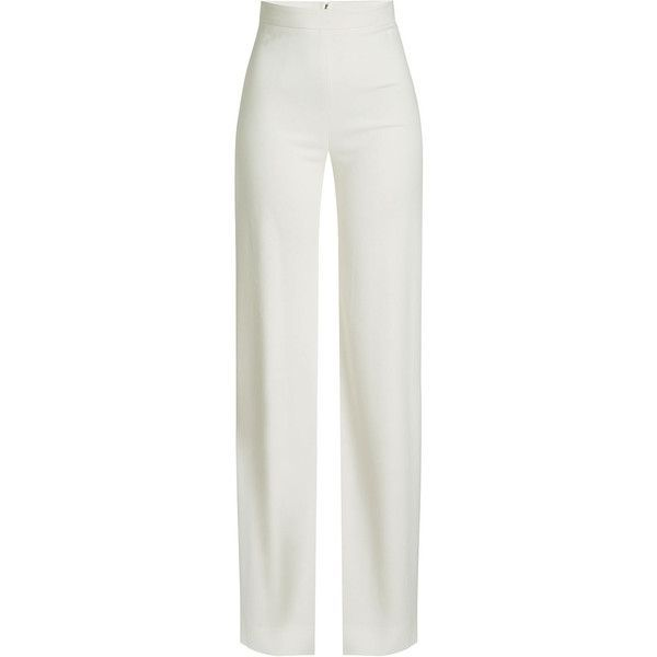 Brandon Maxwell Wide Leg Crepe Pants ($1,295) ❤ liked on Polyvore featuring pants, white, evening pants, straight pants, white crepe pants, holiday pants and crepe pants