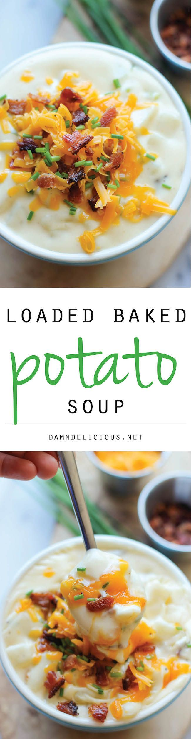 Loaded Baked Potato #Soup - All the flavours of a loaded #baked potato comes together in this comforting soup!