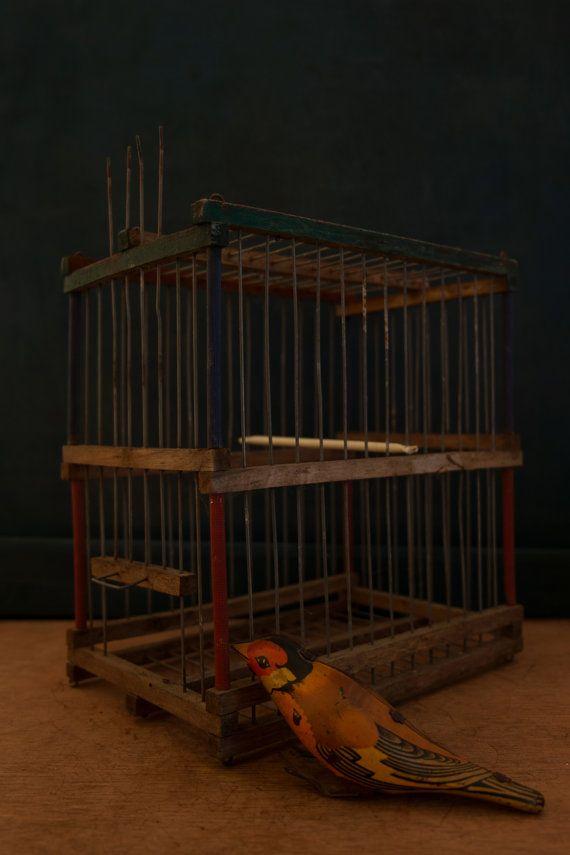 Antique rare wooden Bird Cage. c. 1920's di Daedaleum su Etsy