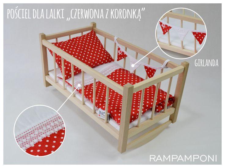 KOŁYSKA Z KOMPLETEM POŚCIELI - 6 elementów - RAMPAMPONI - Mebelki dla lalek
