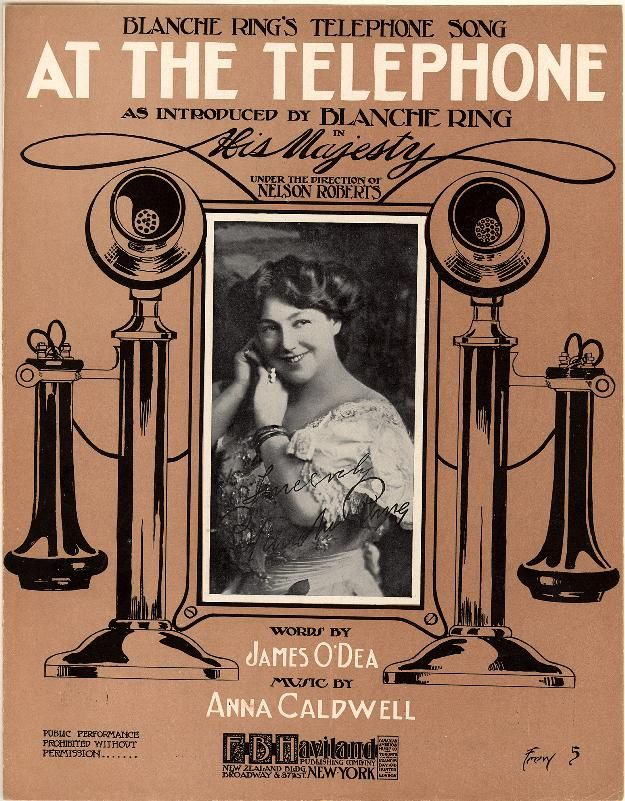 At the telephone; Blanche Ring's telephone song; His Majesty. From Duke Digital Collections. Collection: Historic American Sheet Music