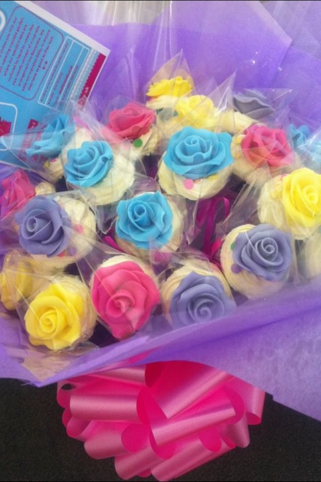 Bouqcake Cupcakes   Bouqcakes  Cupcake bouquet yummy edible roses perfect for Mother's Day