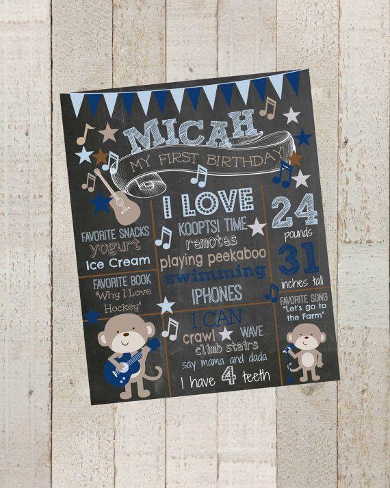 First Birthday Chalkboard Rockstar Monkey Poster- Poster Sign Birthday, Printable File, 1st Birthday Photo Prop on Etsy, $20.00