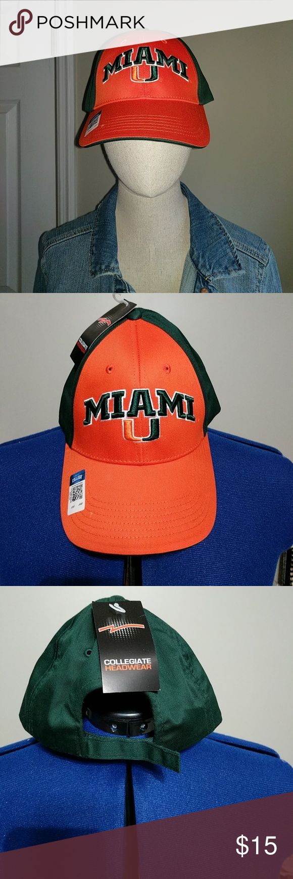 University of Miami cap NWT Orange in front, green in back. Velcro adjustable. Go Canes! collegiate headwear Accessories Hats