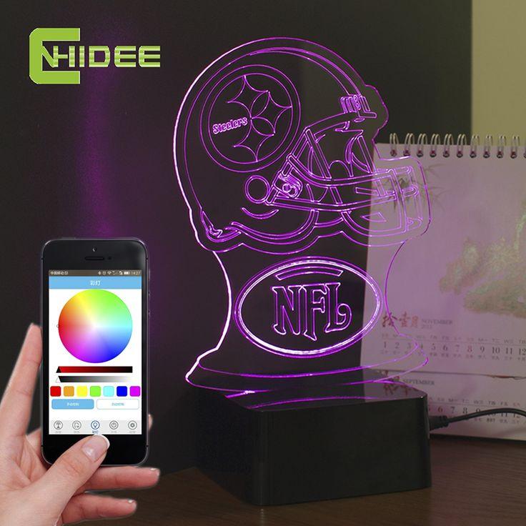 Cnhidee новинка USB ночные огни для питтсбург футбол шлем в форме 3D из светодиодов настольная лампа Bluetooth музыкальный ну вечеринку огни