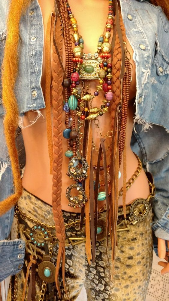 Handmade Long Fringe Bib Statement NECKLACE Hippie Festival Wear Boho tmyers #HandmadebyTraciMyersMe #Fringebeadschainskuchipendant