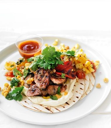 Great inspiration for a Sausage Revamp - A mexican inspired Sausage and Chickpea Salad on Tortillas (via MiNDFOOD).  Just make sure you choose organic and preservative free snags to be super healthy ;)