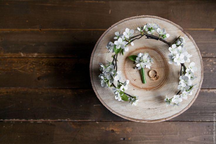 Купить Полувенок «Яблочное облако» - белый, венок, полувенок, венок невесты, свадебный венок