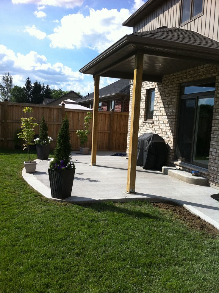 Cement Patio Designs Stained Concrete Floor Designs: Broom Finished Concrete Patio In Komoka Ontario