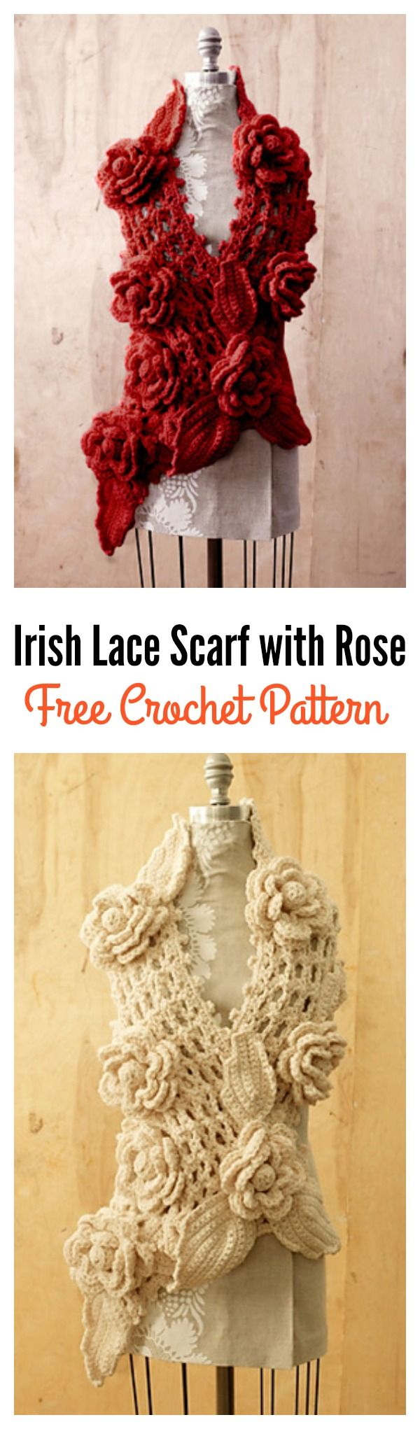Crochet Irish Lace Scarf with Rose Free Pattern