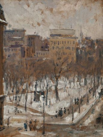 Square in Paris, Snowy Weather, 1888 by Gustave Caillebotte. Impressionism. cityscape. Private Collection