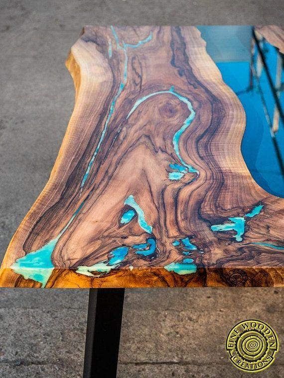 Live Edge River Esstisch mit Türkisharz #send #River #Turquoise