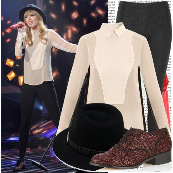 'Performing at the X-Factor USA': Taylor Swift by stylished on Polyvore featuring polyvore, fashion, style, rag & bone, Donna Karan, Carvela Kurt Geiger and Sennheiser<<<< i really like her shoes! ❤