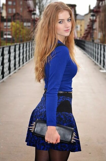 Blue mini dress cute belt with handbag