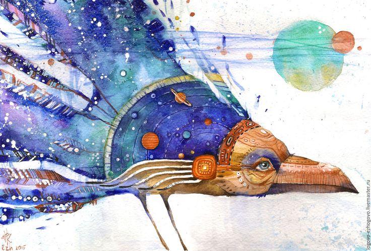 Купить Космический ворон - синий, голубой, фиолетовый, бирюзовый, коричневый, темно-коричневый, шаман, индеец