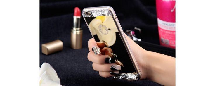 Husa cu oglinda si diamante artificiale pentru iPhone 6