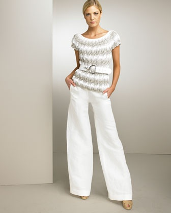 Love, love, love this fabulous Oscar de la Renta knitted top and wide leg trousers.